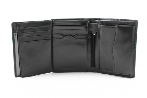 Ultimo Credit Card and Coin Case Wallet with I.D. PI408801BK Open With I.D. Window Black