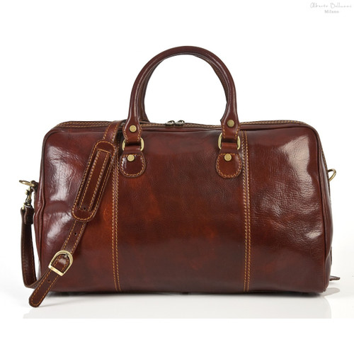 Perugia Italian Leather Duffel Bag | Brown