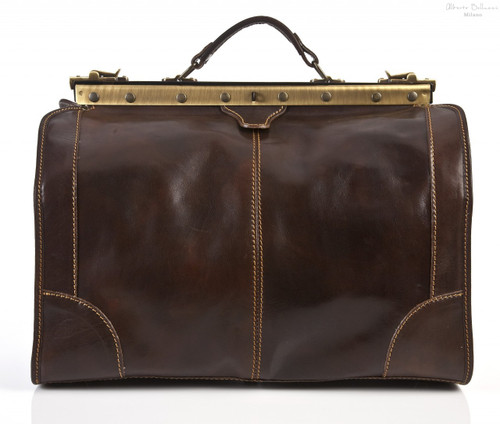 Roma Travel leather bag Small size | Color Dark Brown | Front View