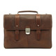 Classico Italiano Double Compartment Laptob Brief | Brown | Front