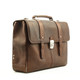 Classico Italiano Double Compartment Laptob Brief | Brown | Angled Right
