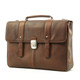 Classico Italiano Double Compartment Laptob Brief | Brown | Angled Left