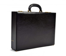 Amalfi Grande Leather Attache Case PI010204 | Color Black | Front