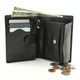 Ultimo Euro Credit Card and Coin Case Wallet with I.D. | Open Full | Color Black