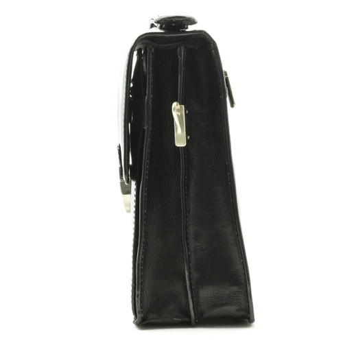 Tony Perotti Italian Leather Rovigo Vertical Flap-Over Carry All Bag - black side view