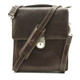 Tony Perotti Italian Leather Rovigo Vertical Flap-Over Carry All Bag - brown front view