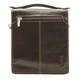 Tony Perotti Italian Leather Rovigo Vertical Flap-Over Carry All Bag - brown zip view