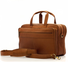 "Muiska Toronto - 17"" Expandable Leather Organizer Laptop Briefcase - Front View, Saddle"