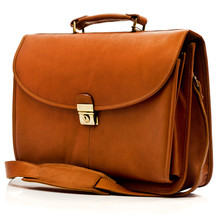 Muiska Bern - Flap over Leather Computer Briefcase - Front View, Saddle