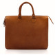 Muiska Monica - Slim Business Leather Briefcase - Front View 2, Saddle