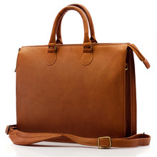 Muiska Monica - Slim Business Leather Briefcase - Front View, Saddle