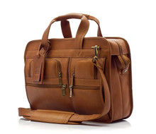 "Muiska Oslo - 17"" Leather Professional Computer Briefcase - Front View, Saddle"