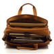 "Muiska New York - 17"" Leather Organizer Laptop Briefcase - Upper Open View, Saddle"