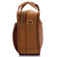 "Muiska New York - 17"" Leather Organizer Laptop Briefcase - Side View, Saddle"