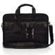 "Muiska New York - 17"" Leather Organizer Laptop Briefcase - Front View, Black"