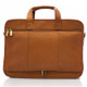 "Muiska New York - 17"" Leather Organizer Laptop Briefcase - Back View, Saddle"