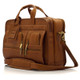 "Muiska New York - 17"" Leather Organizer Laptop Briefcase - Side Front View, Saddle"