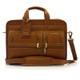 "Muiska New York - 17"" Leather Organizer Laptop Briefcase - Front View, Saddle"