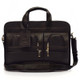"Muiska New York - 17"" Leather Organizer Laptop Briefcase - Front View, Brown"