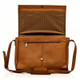 Muiska Berlin - Classic Leather Messenger Bag - Front Open View, Saddle