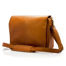 Muiska Tokyo - Leather Computer Messenger Bag - Front View, Saddle