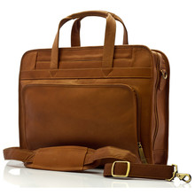 "Muiska Lisbon - 17"" Leather Computer Briefcase - Front View, Saddle"