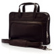 """Muiska Lisbon - 17"""" Leather Computer Briefcase - Front View, Brown"""