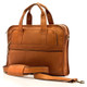 Muiska Milan - Double Handle Leather Computer Briefcase - Front View, Saddle