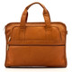 Muiska Milan - Double Handle Leather Computer Briefcase - Front View 2, Saddle