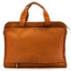 Muiska Milan - Double Handle Leather Computer Briefcase - Back View, Saddle