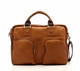 Muiska Cairo - 16.5in Leather Computer Briefcase - Front View 2, Saddle