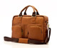 Muiska Cairo - 16.5in Leather Computer Briefcase - Front View, Saddle
