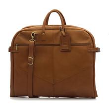 Muiska Rome - Leather Lightweight Garment Bag - Front View, Saddle