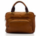 Muiska Paris - Leather Single Compartment Briefcase - Front View 2, Saddle