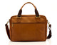Muiska Paris - Leather Single Compartment Briefcase - Back View, Saddle