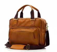 Muiska Paris - Leather Single Compartment Briefcase - Front View, Saddle