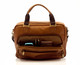 Muiska Paris - Leather Single Compartment Briefcase - Front Open View, Saddle