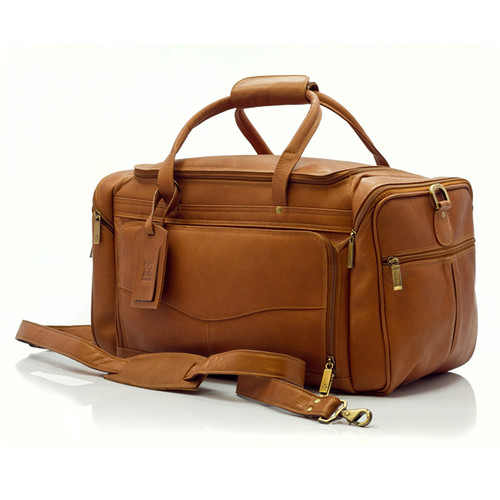 Muiska Hugo - 20in Leather Carry On Duffel Bag - Front View, Saddle