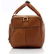Muiska Hugo - 20in Leather Carry On Duffel Bag - Side View, Saddle