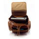 Muiska Refael - Leather Laptop Backpack - Upper Open View, Saddle