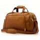 Muiska Luis - Leather Carry On Weekender Duffle - Side Front View, Saddle