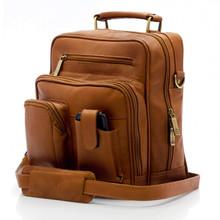 Muiska Carlos - Large Leather Mans Bag - Front View, Saddle