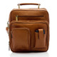 Muiska Carlos - Large Leather Mans Bag - Front View 2, Saddle