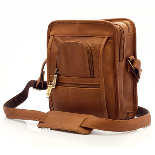 Muiska Daniel - Leather Mans Bag - Front View, Saddle