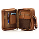 Muiska Daniel - Leather Mans Bag - Front Open View, Saddle