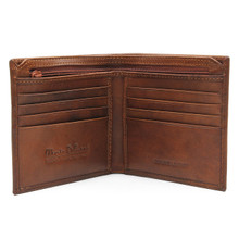 Napoli Bi Fold Wallet with Zipper Compartment Brown
