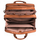 Muiska Sydney - Colombian Leather Triple Compartment Briefcase Organizer - Open Top View Expanded, Saddle