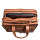 Muiska Sydney - Colombian Leather Triple Compartment Briefcase Organizer - Open Top View, Saddle