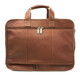 Muiska Madrid - Colombian Leather Triple Compartment Briefcase Satchel - Back View with Double Zippers, Saddle
