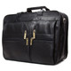 Muiska Madrid - Colombian Leather Triple Compartment Briefcase Satchel - Front Side View, Black